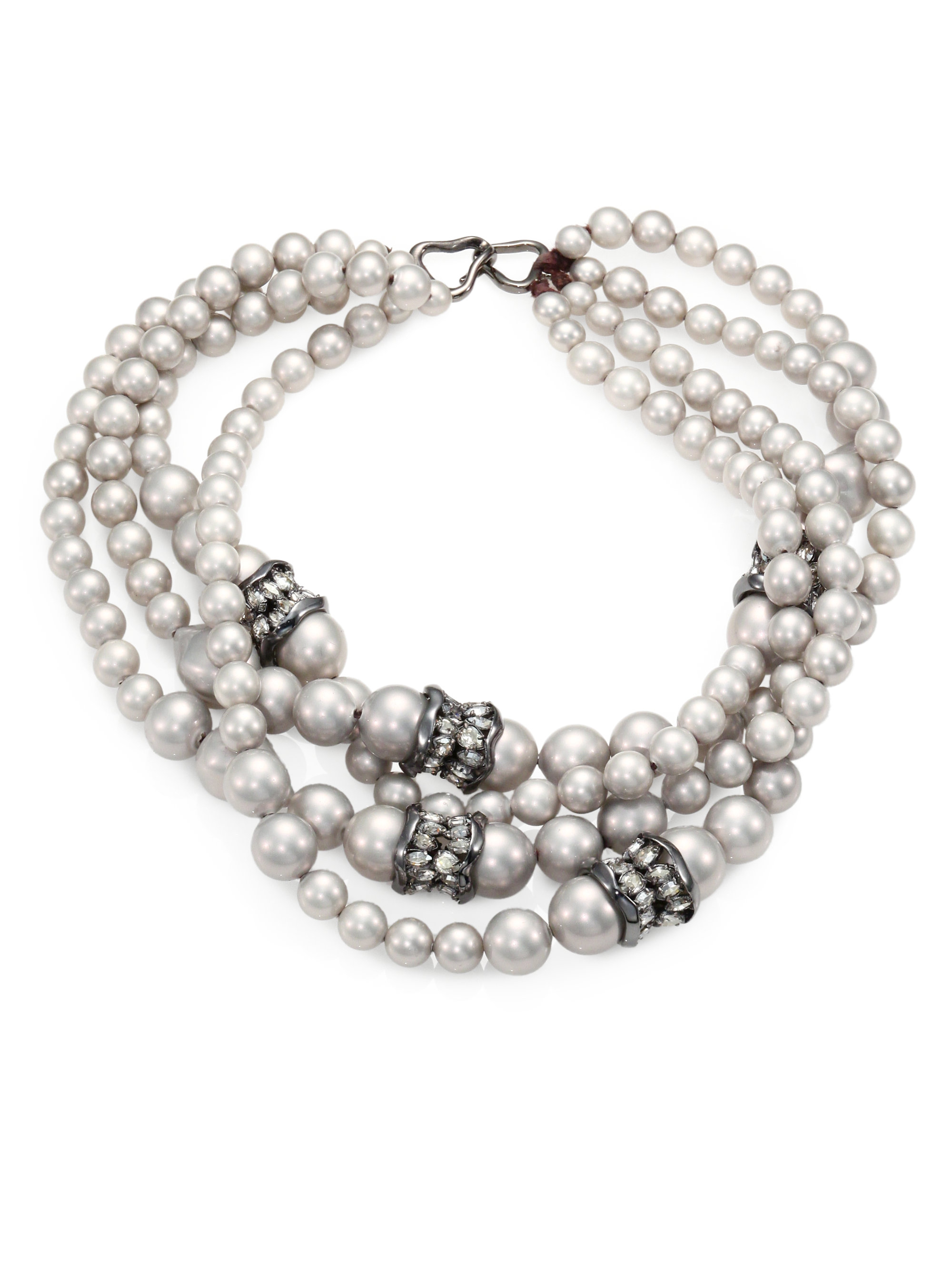 Lyst Alexis Bittar Shell Pearl Multistrand Necklace In
