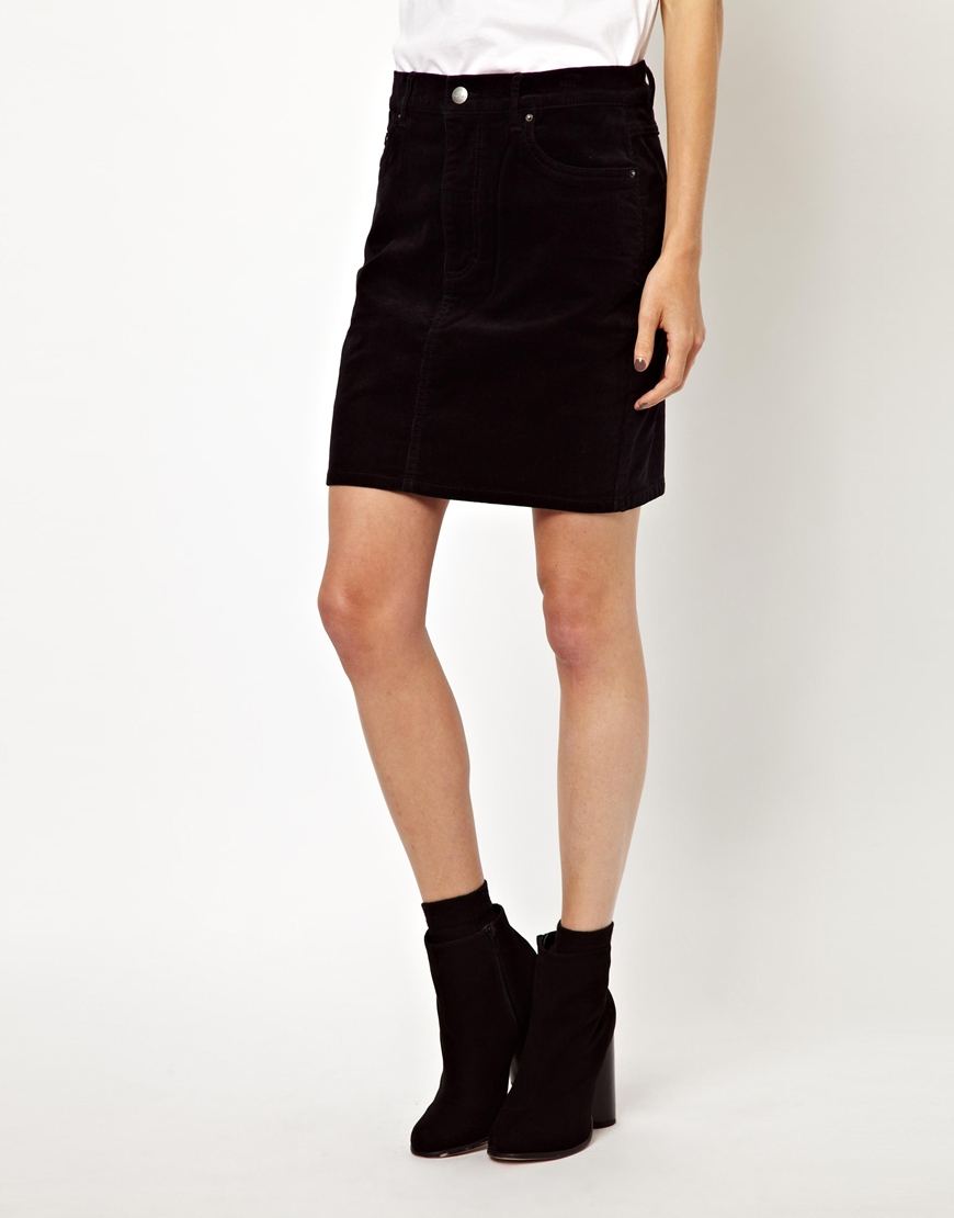 a900ad15ce Lyst - ASOS Monki Mini Cord Skirt in Black