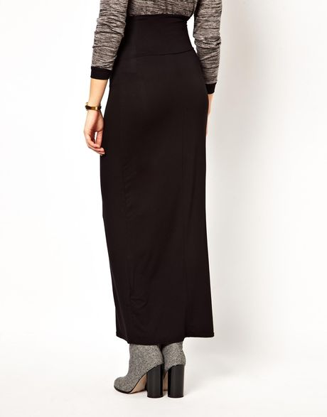 asos new look maternity maxi skirt in black lyst