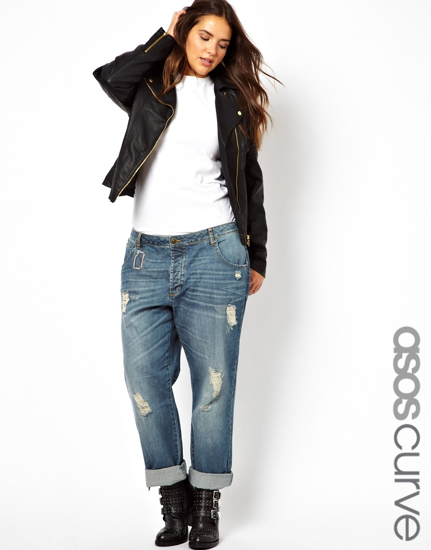 lyst asos saxby boyfriend jean with distressed rips in blue. Black Bedroom Furniture Sets. Home Design Ideas