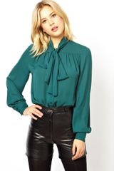 Asos Blouse with Pussybow Neck and Gathered Front - Lyst