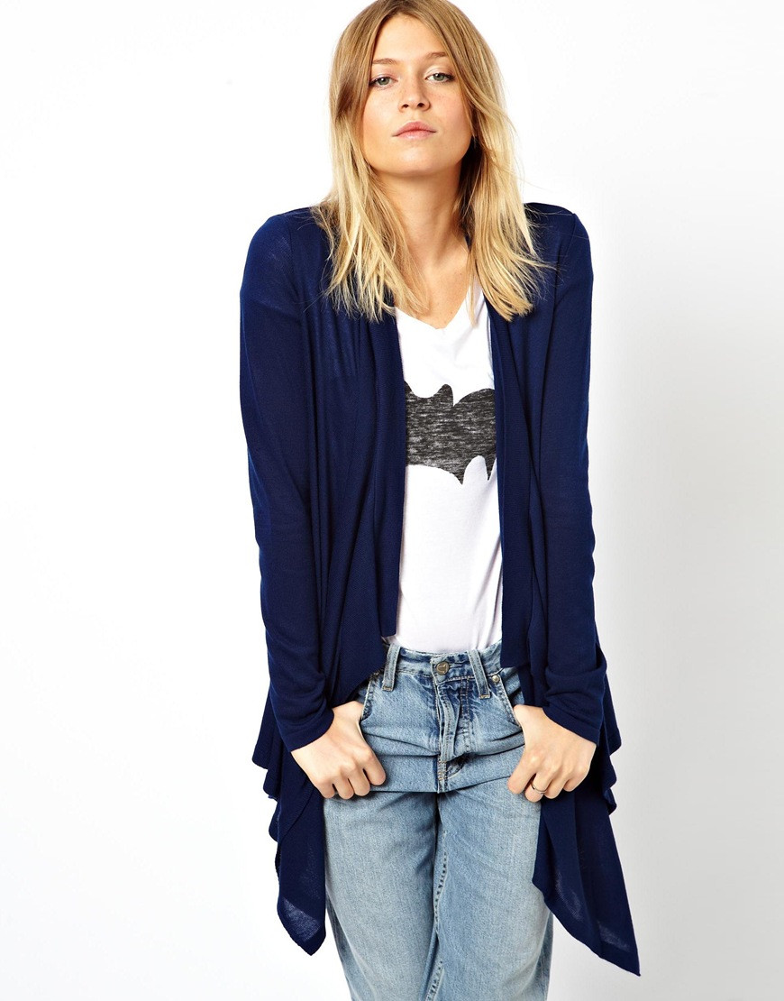 Asos Waterfall Cardigan in Blue | Lyst