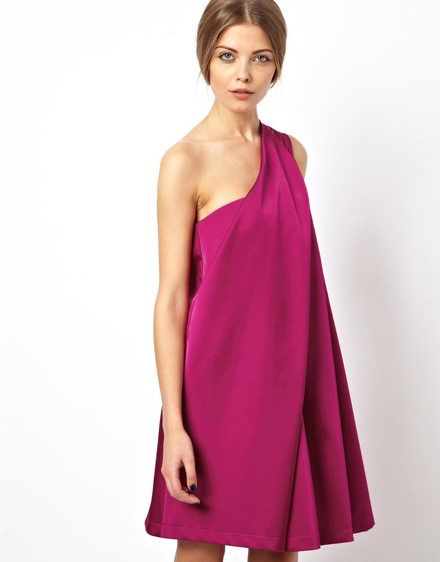Lyst - Asos Black Origami Dress In Heavy Satin in Purple
