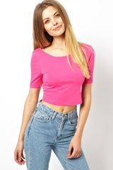 Asos Crop Top with Half Sleeve and Scoop Back - Lyst