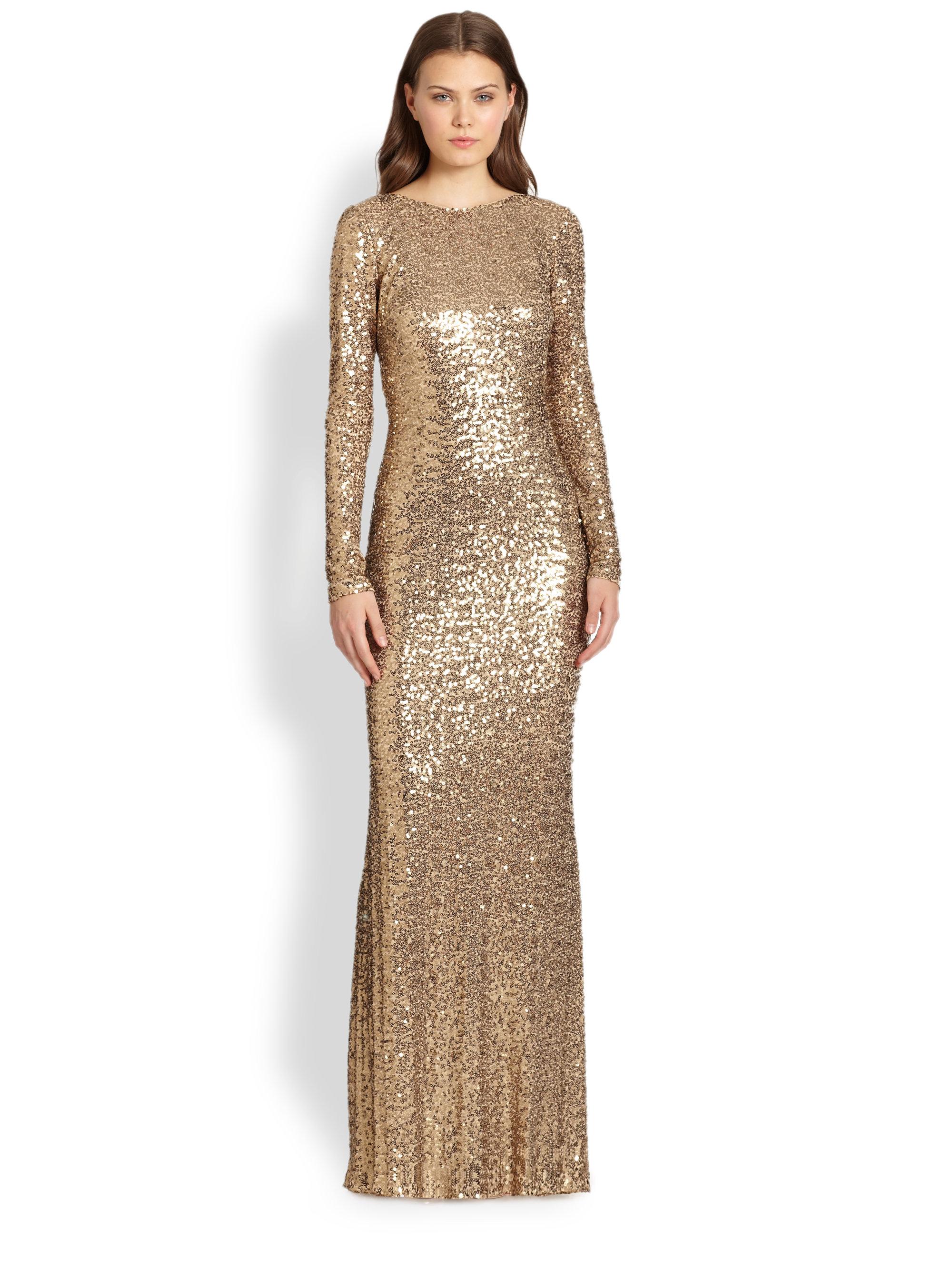 Lyst - Badgley mischka Sequin Cowlback Gown in Metallic