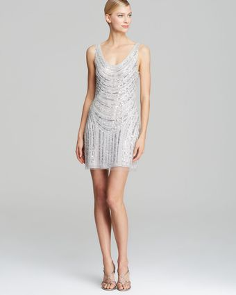 Basix Scoop Neck Beaded Dress - Lyst