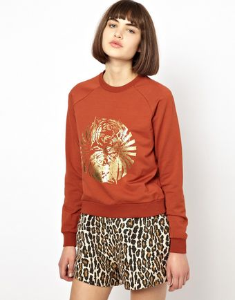 Asos Sweatshirt with Foil Print - Lyst
