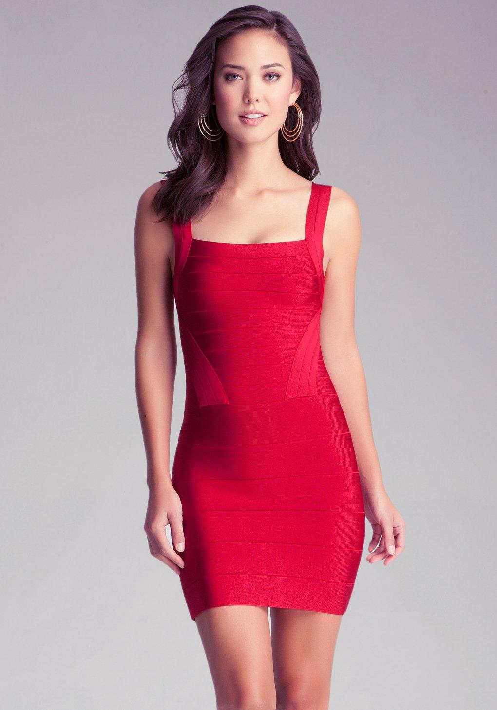 bebe strap bandage dress in red lyst. Black Bedroom Furniture Sets. Home Design Ideas