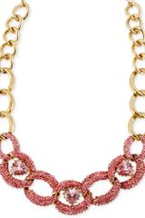 Betsey Johnson Goldtone Pink Crystal Heart Link Frontal Necklace - Lyst