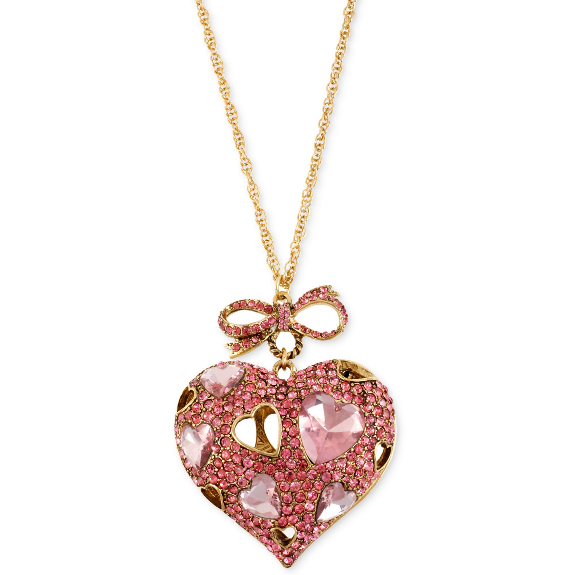 Betsey Johnson Goldtone Pink Crystal Heart Pendant Long