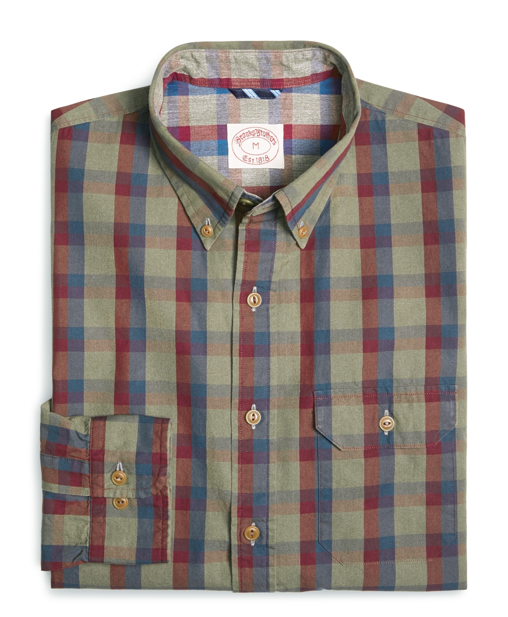 Brooks brothers dye plaid check sport shirt in multicolor Brooks brothers shirt size guide