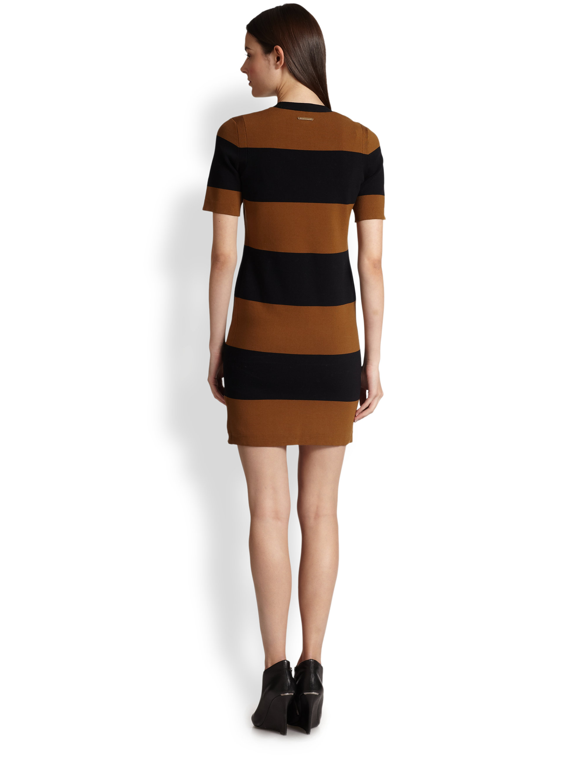 d3ec0504e0781 Burberry Brit Laila Striped Dress in Black - Lyst