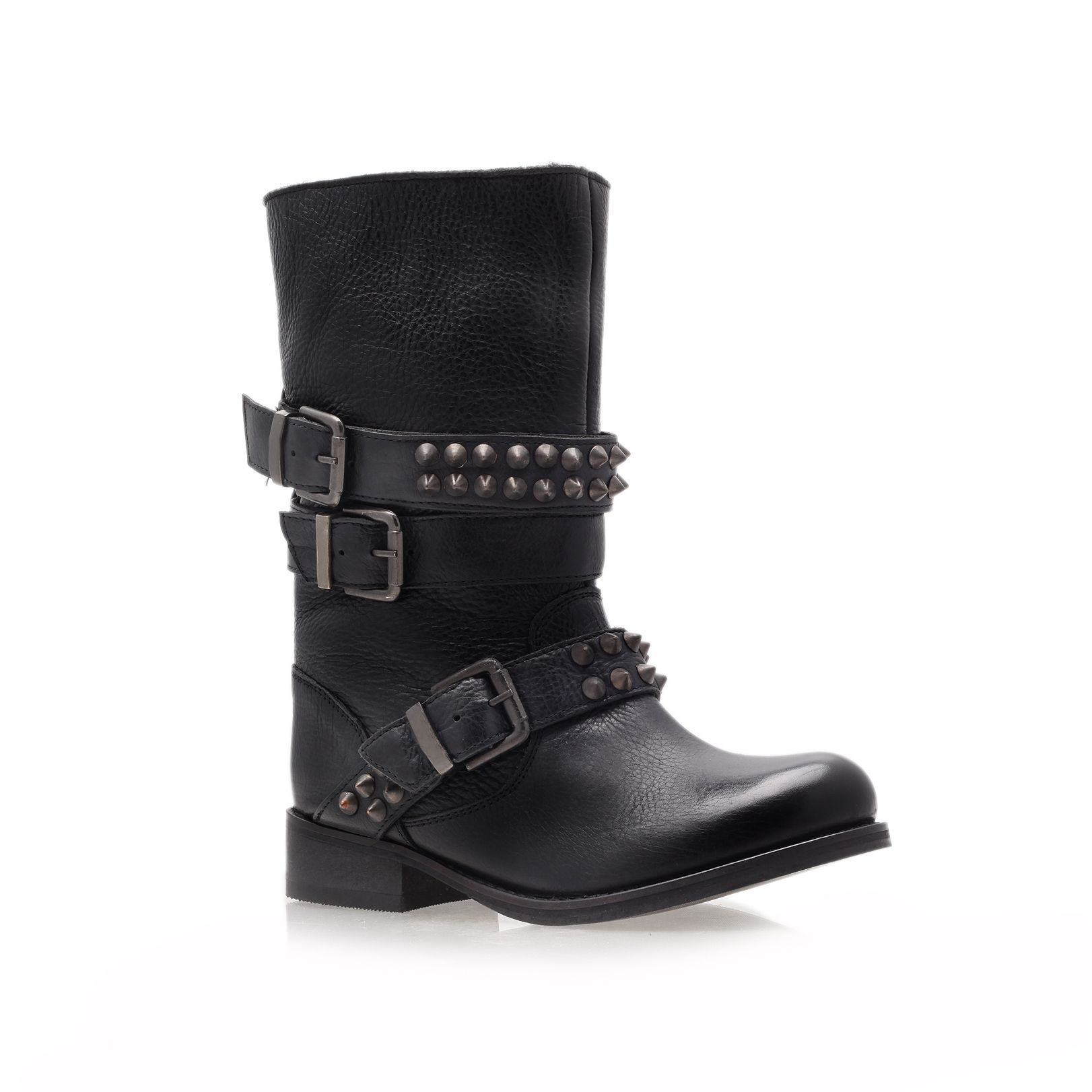 carvela kurt geiger studded leather flat boots in