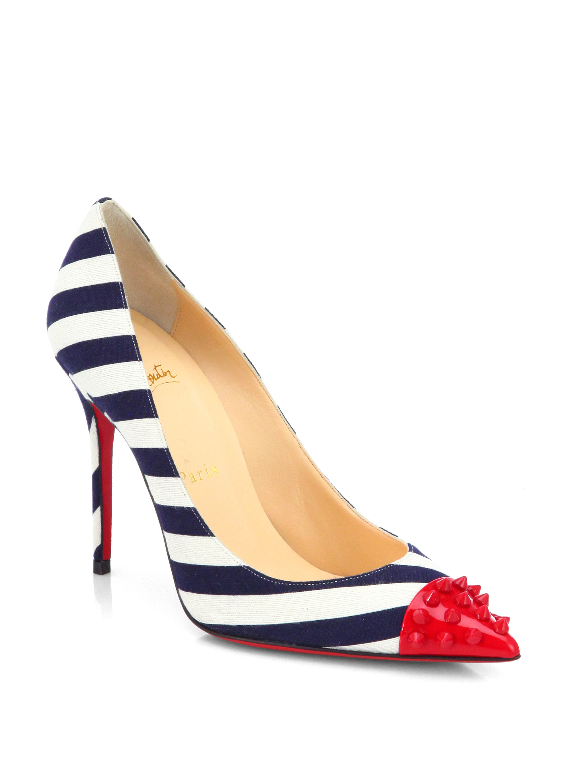christian louboutin canvas wedges Navy peep-toe - Bbridges