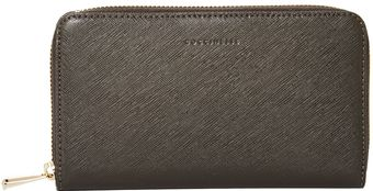 Coccinelle Saffiano Grey Large Zip Around Purse - Lyst