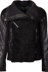 Cut 25 By Yigal Azrouel Shearling Moto Zip Jacket - Lyst