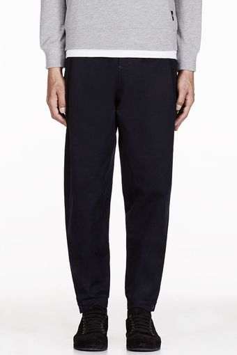 Damir Doma Navy Pleated Low Rise Pararu Trousers - Lyst