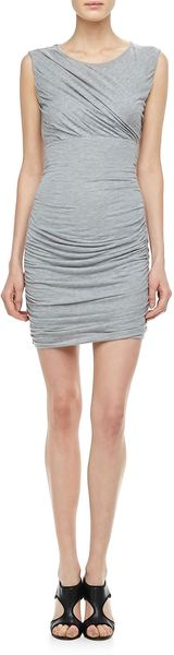 Diane Von Furstenberg Angelina Shortsleeve Ruched Dress Gray - Lyst