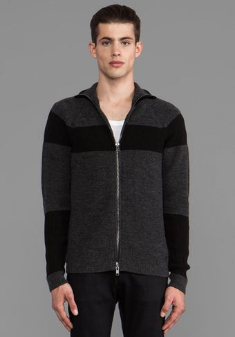 Diesel Esha Zipper Cardigan in Charcoal - Lyst