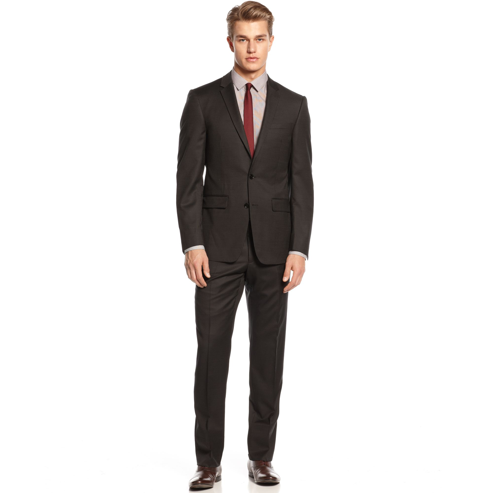 Dkny Black Tonal Striped Suit Slim Fit in Brown for Men ...