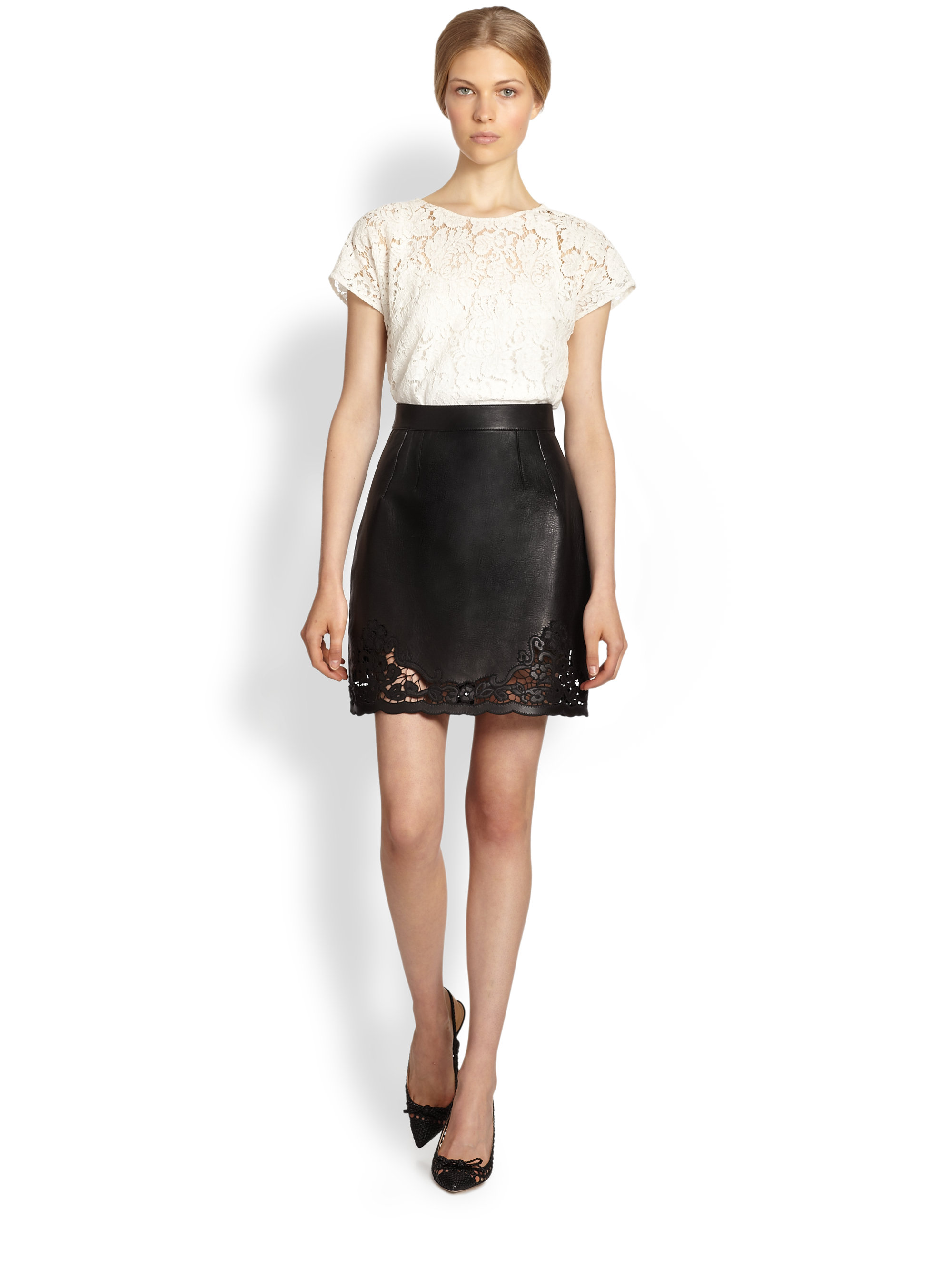 Dolce & gabbana Lasercut Leather Skirt in Brown | Lyst