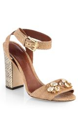 Dolce & Gabbana Jeweled Raffia Snakeskin Highheel Sandals - Lyst