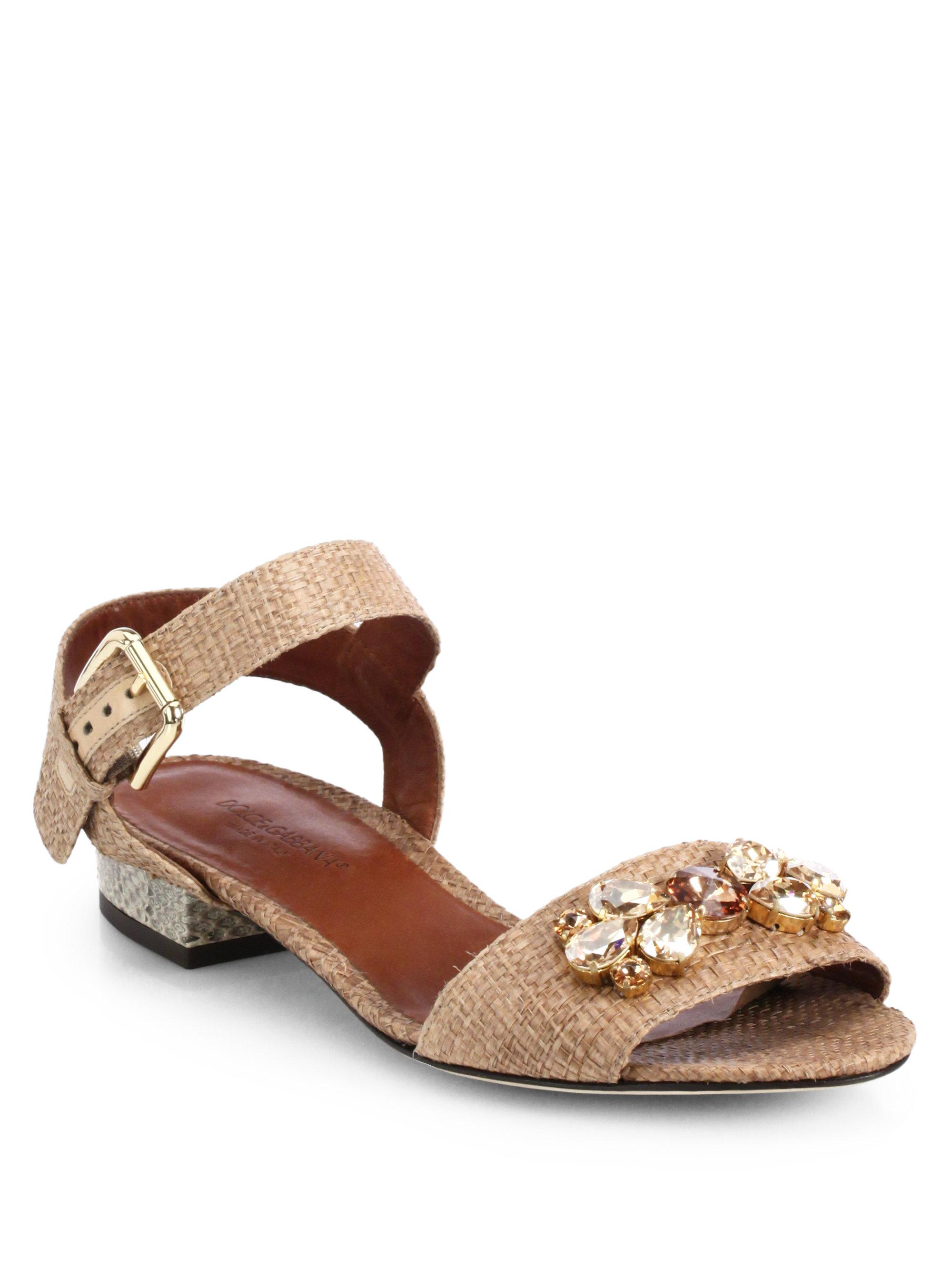 e51ad8fe64fd1 Lyst - Dolce   Gabbana Jeweled Raffia Snakeskin Sandals in Brown