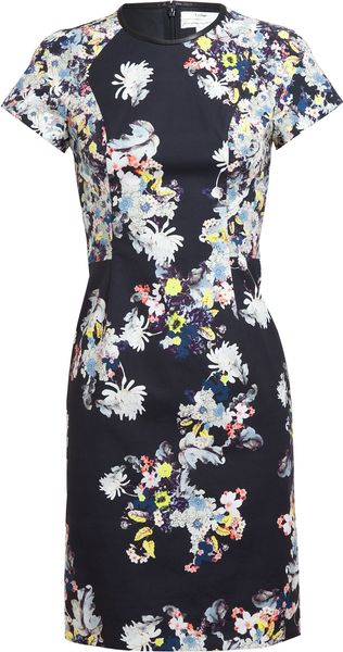Erdem Marta Floral Printed Stretch Cotton Dress - Lyst