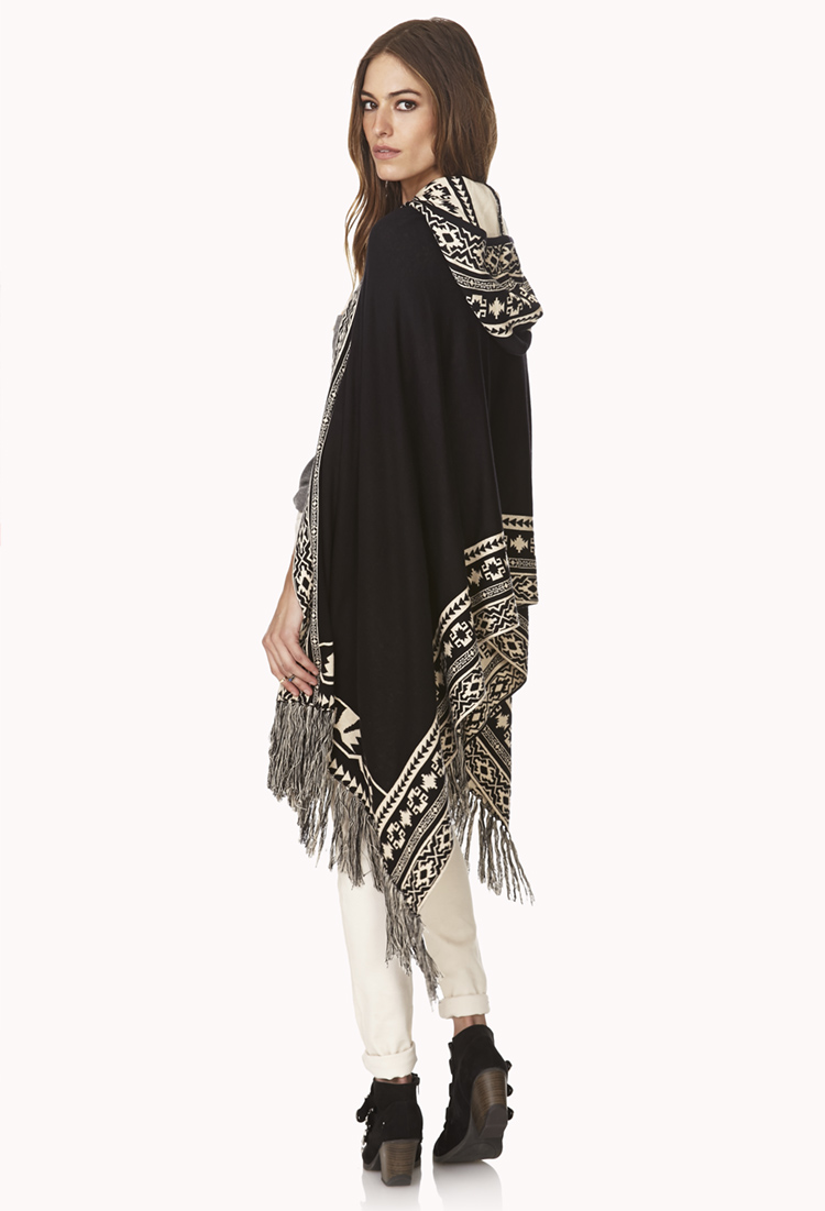 Forever 21 Winter Nights Fringed Poncho in White (Black ...
