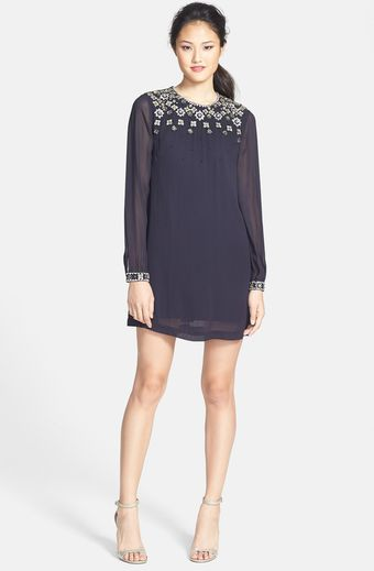 French Connection Ceres Embellished Chiffon Shift Dress - Lyst