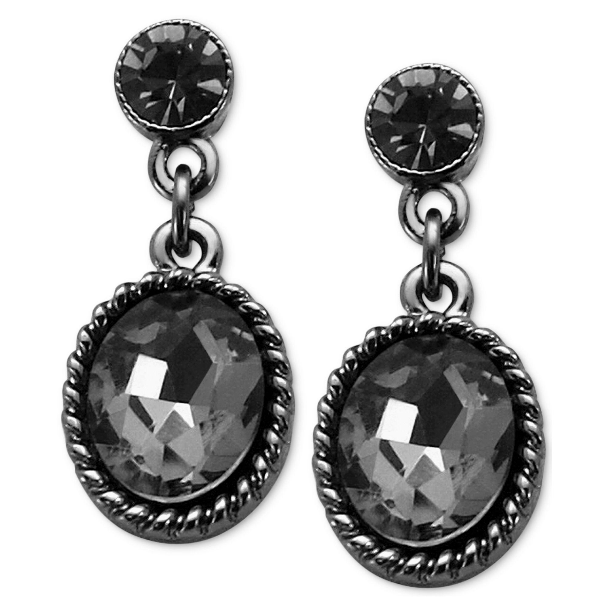 Black Stone Earrings: Guess Hematitetone Black Diamond Stone Drop Earrings In
