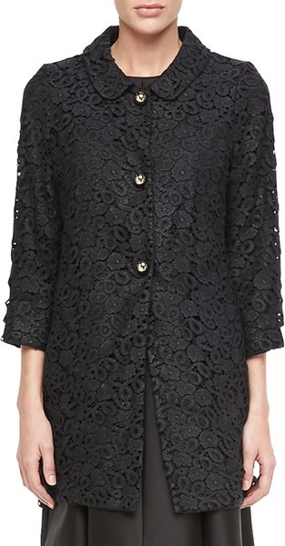 Kate Spade Franny 34sleeve Lace Coat in Black