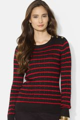 Lauren by Ralph Lauren Stripe Cable Knit Crewneck Sweater - Lyst