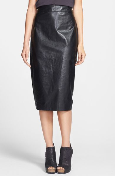 leith faux leather midi skirt in black lyst