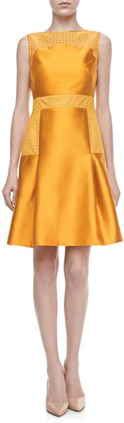 Lela Rose Lacetrimmed Satin Dress Marigold - Lyst