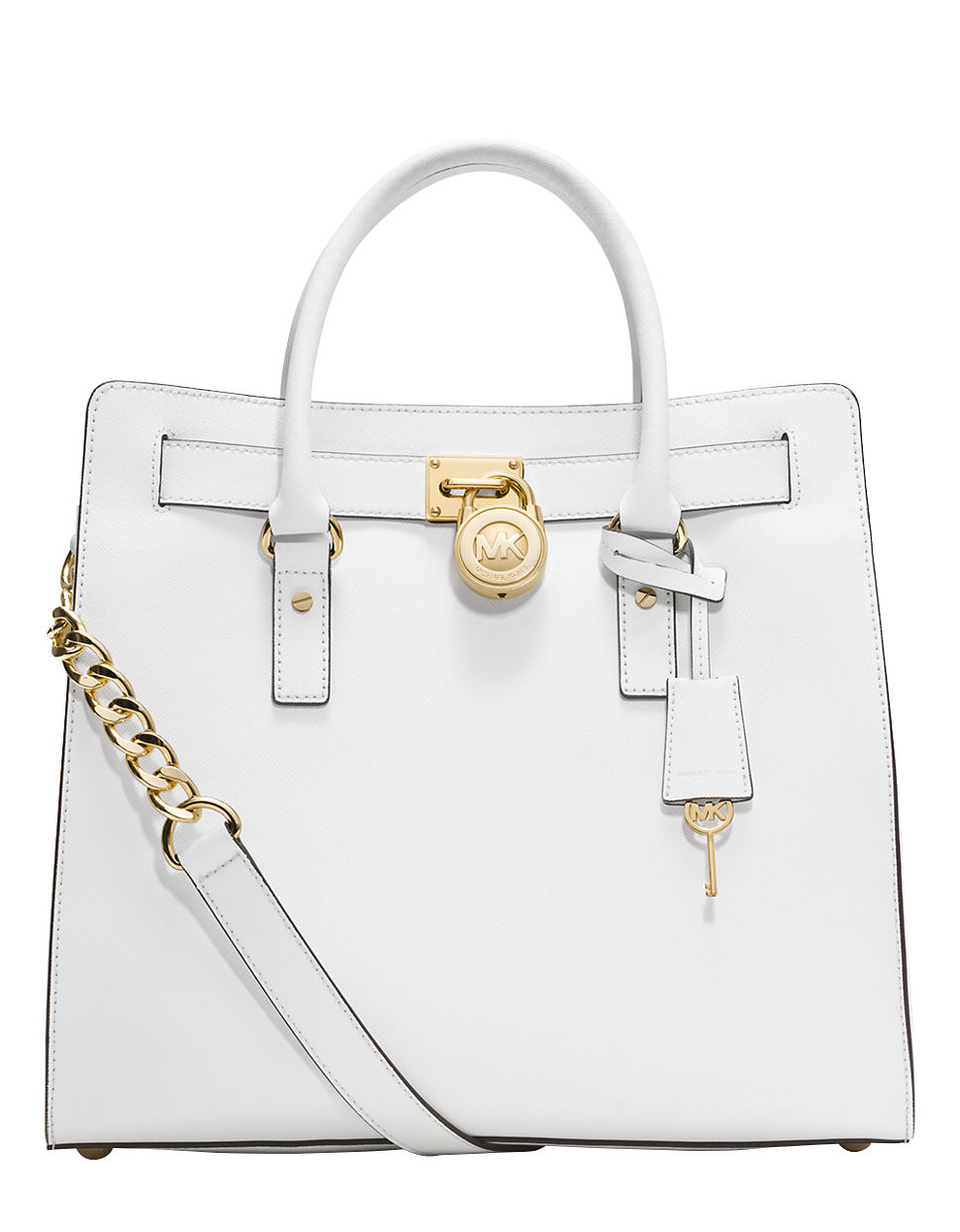 michael michael kors hamilton large leather tote bag in white lyst. Black Bedroom Furniture Sets. Home Design Ideas