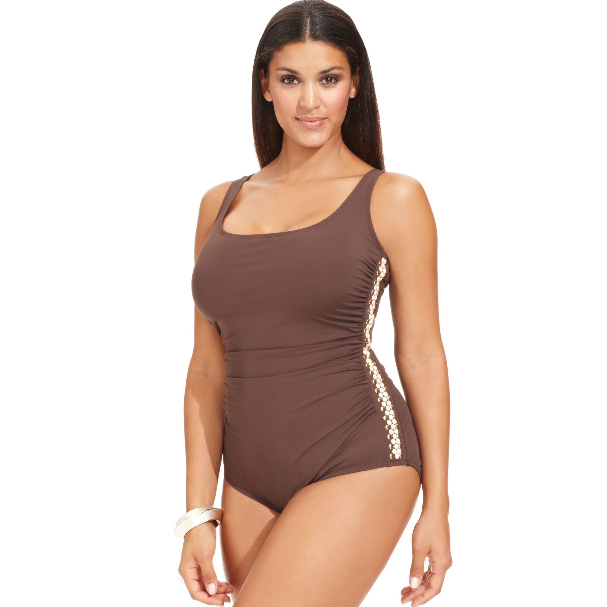 a10ad0106147a Lyst - Michael Kors Michael Plus Size Embellished One-piece Swimsuit ...