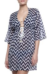 Milly Ava Zigzag Tunic Coverup Blue-white - Lyst