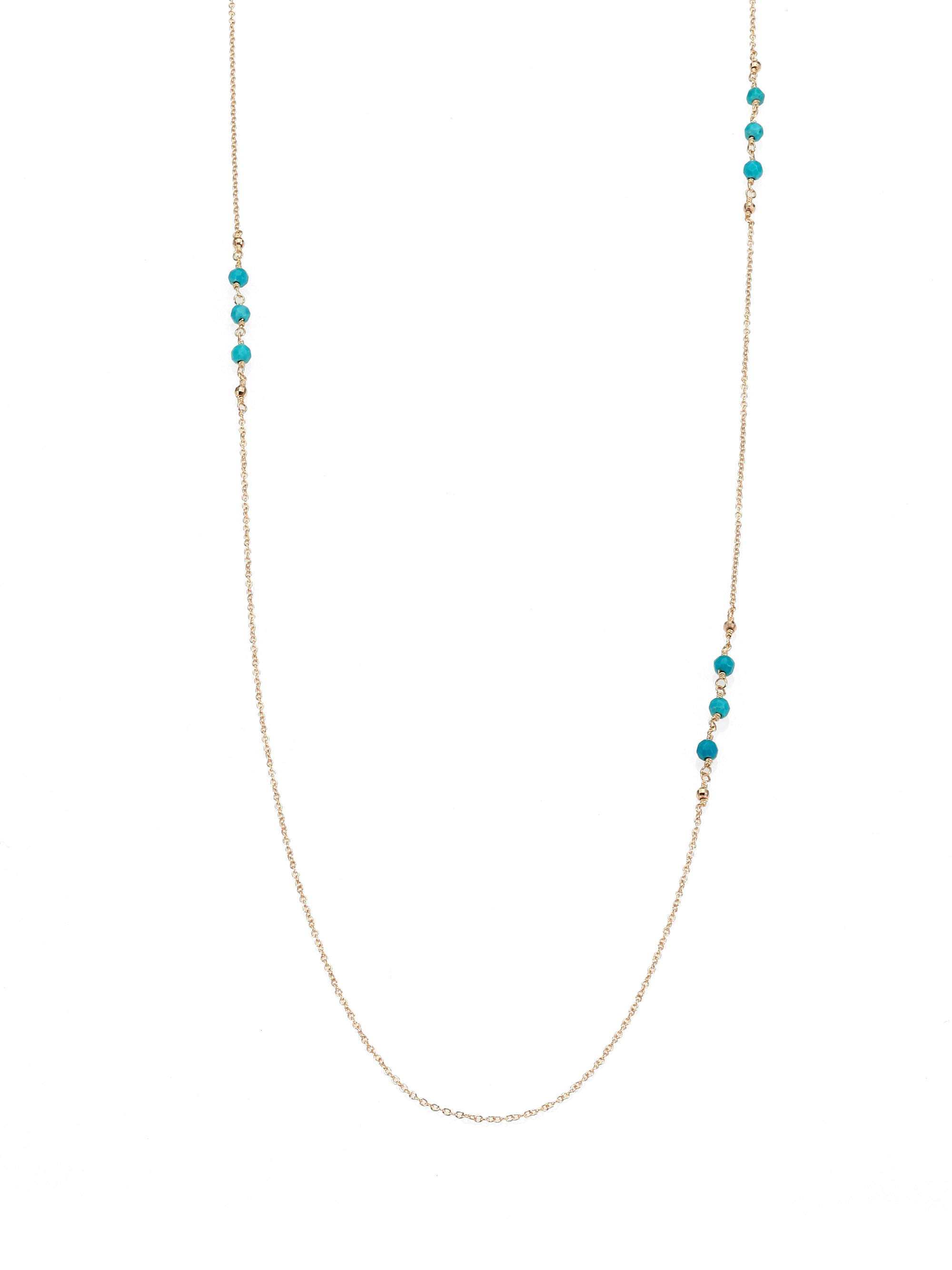 Mizuki Turquoise 14k Yellow Gold Chain Necklace in Metallic
