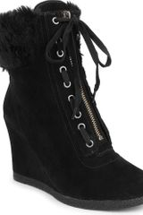 Nine West Bayla Suede Wedge Ankle Boots - Lyst