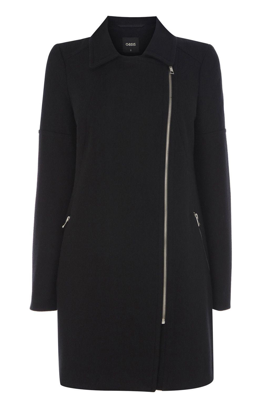 Oasis Quilted Sleeve Biker Coat in Black