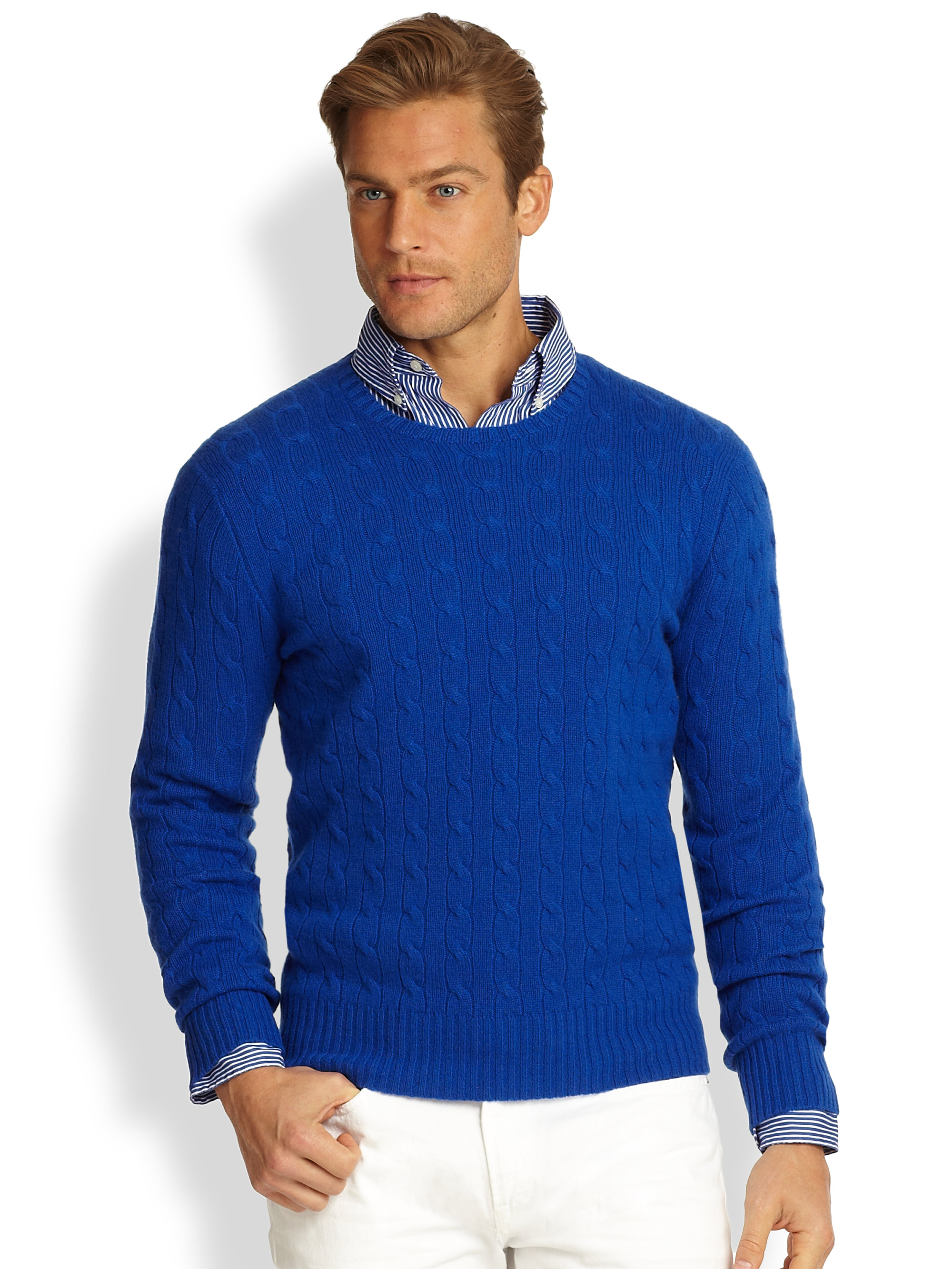 Polo ralph lauren Cableknit Cashmere Sweater in Blue for Men | Lyst