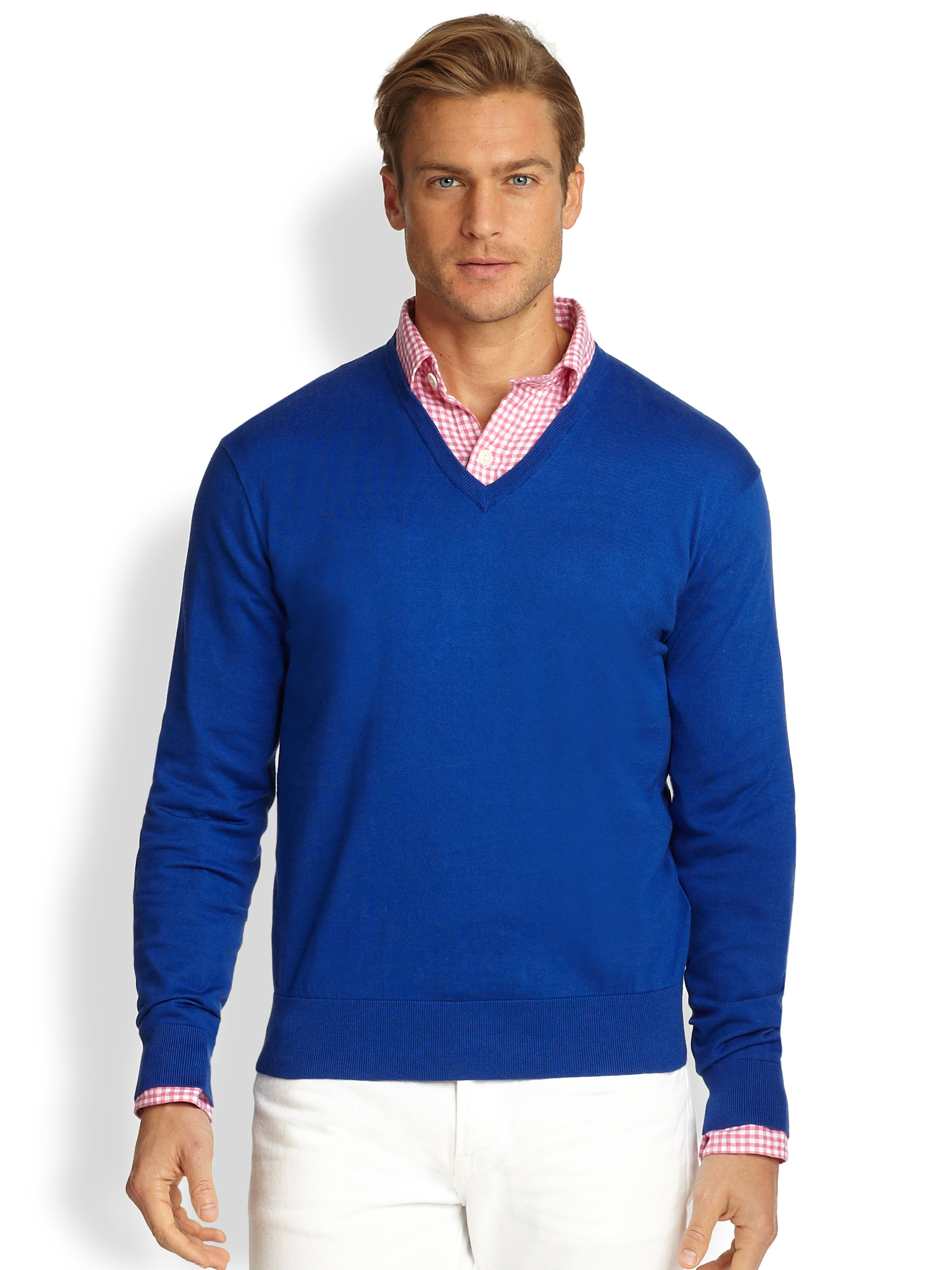 polo ralph lauren cotton v neck sweater in blue for men lyst. Black Bedroom Furniture Sets. Home Design Ideas
