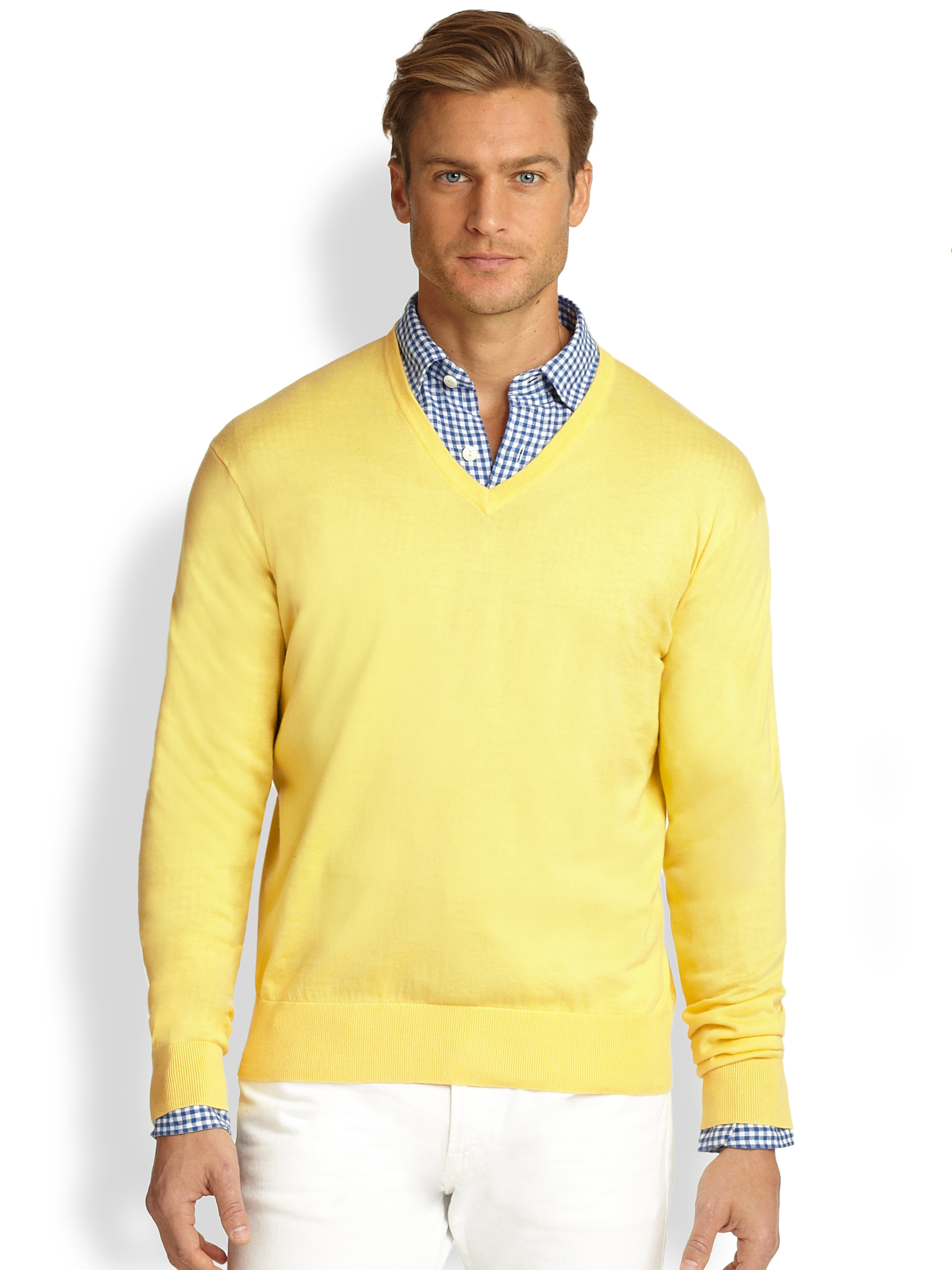 9327f0864791 Lyst - Polo Ralph Lauren Cotton V-neck Sweater in Yellow for Men