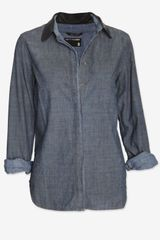 Rag & Bone Leather Collar Denim Shirt - Lyst