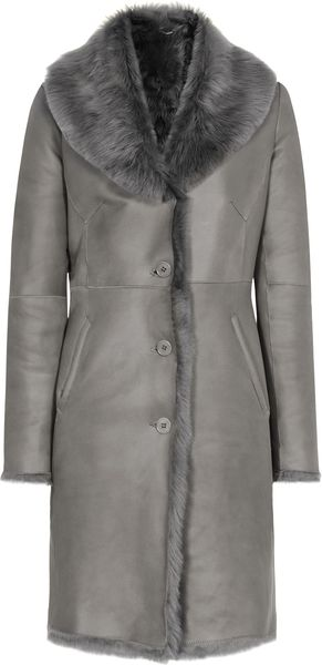 Reiss Opium Long Shearling Leather Coat - Lyst