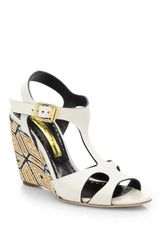 Rupert Sanderson Mitzy Leather Woven Wedge Sandals - Lyst