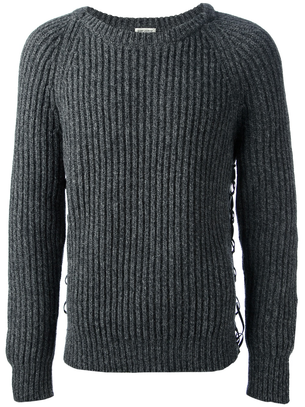 Saint laurent Ribbed Sweater in Gray for Men | Lyst
