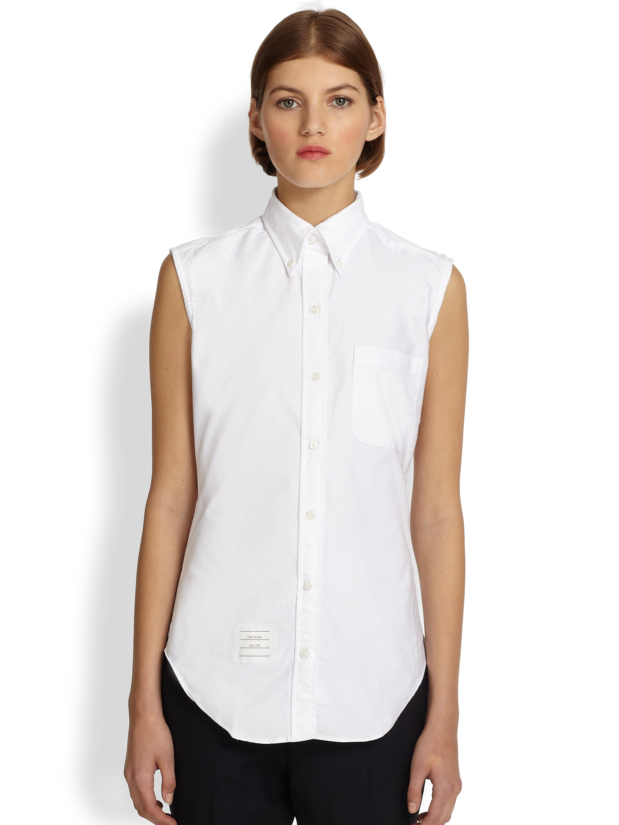 a1a595f2 Thom Browne Sleeveless Oxford Shirt in White - Lyst