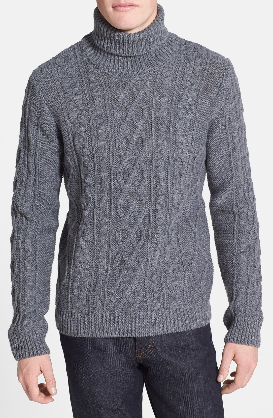 Sweater Knit : Topman chunky cable knit turtleneck sweater in gray for